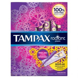Tampax Radiant plastic Regular absorbency unscented tampons 16ct Sale