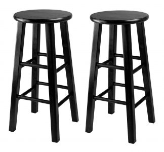 Winsome 24-Inch Square Leg Counter Stool, Black, Set of 2 Sale