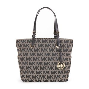 Michael Kors Jet Set Monogram Signature Logo Tote in Beige and Black Sale
