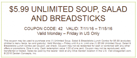 Olive garden unlimited lunch combo buyvia for Olive garden coupons october 2016