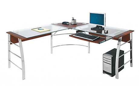 picture of Realspace Mezza L-Shapred Glass Corner Desk Sale