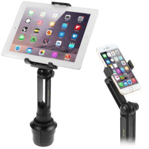 iKross 2-in-1 Tablet and Cellphone Adjustable Swing Extended Cup Mount Holder Car Kit