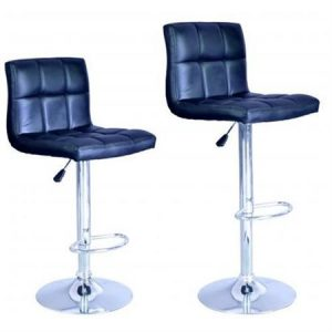 Modern Adjustable Synthetic Leather Swivel Bar Stools – Set of 2