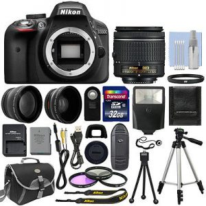 Nikon D3300 DSLR Camera 18-55 Lens Bundle Sale
