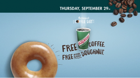 picture of Free Krispy Kreme Coffee and Glazed Donut Day - 9/29/16 - Other Promos