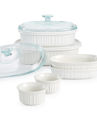 Corningware French White 10-Pc Bakeware Set Sale $21.25  Free Shipping from Macys