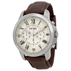 Fossil Grant Chronograph Leather Mens Watch Sale