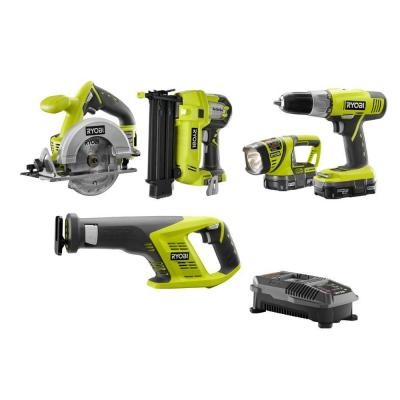 Ryobi ONE+ 18-Volt Lithium-Ion Cordless Combo Kit (4-Tool) Sale $119.00  Free Shipping from Home Depot