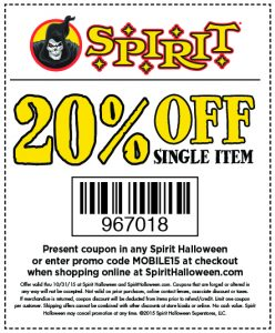 picture of Spirit Halloween 20% off Coupon
