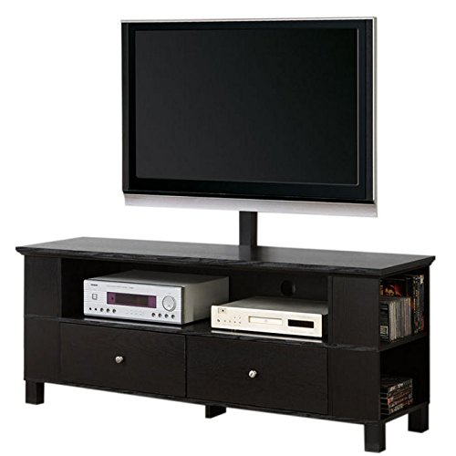 "Walker Edison 58"" Black Wood Storage TV Cabinet with Mount $75.55  Free Shipping from Amazon"