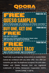 picture of Qdoba Free Food Coupons - Free Taco