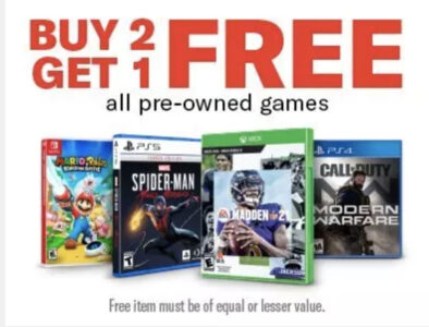 picture of Buy 2 Get 1 Free on Pre-Owned Video Games (PS4, Xbox One, Switch & More)