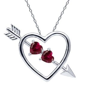 picture of 1.20 Ct Heart Shape Red Created Ruby 925 Sterling Silver Heart and Arrow Pendant