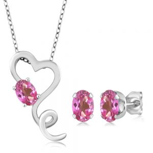 picture of 2.45 Ct Mystic Pink Topaz Heart Pendant Earrings