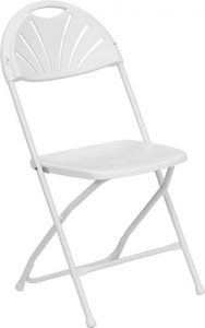 picture of HERCULES Series 800 lb. Capacity White Plastic Fan Back Folding Chair