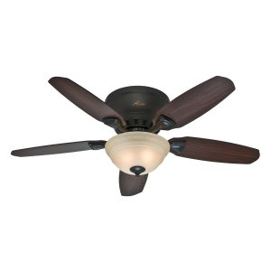 picture of Hunter Louden 46-in Premier Bronze Flush Mount Indoor Ceiling Fan with Light Kit