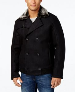 picture of Calvin Klein Men's Double Breasted Jacket w/ Faux Shearling Collar Sale