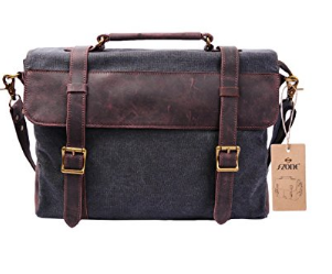 picture of S-ZONE Vintage Canvas Genuine Leather Messenger Bag