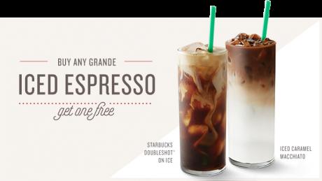 picture of Starbucks Rewards Buy 1 Get 1 Free Handcraft beverages BOGO