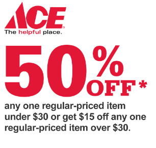 graphic relating to Ace Hardware Printable Coupons referred to as Ace Components 50% off 1 Continuously Priced Products - BuyVia