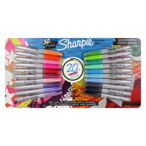 picture of Sharpie Permanent Markers, Fine Point, Assorted Colors, Pack of 20