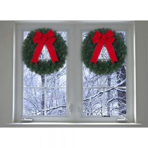 picture of 20 in. Noble Pine Artificial Wreath with Red Bow (Pack of 6)