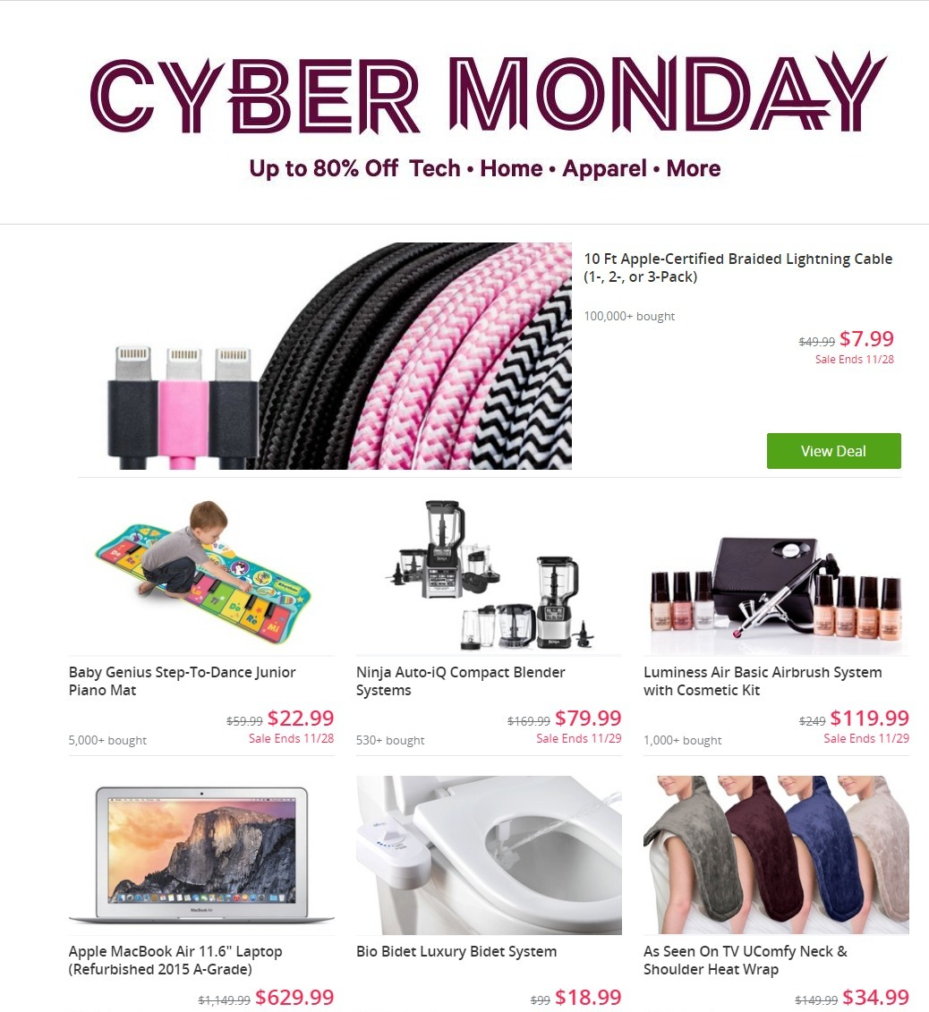 cyber monday 2017 groupon ad buyvia. Black Bedroom Furniture Sets. Home Design Ideas