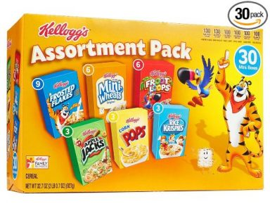 picture of Kellogg's Breakfast Cereal Assortment Pack (Single-Serve Boxes, 30-Count)