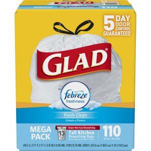 picture of Glad OdorShield Tall Kitchen Drawstring Trash Bags - Febreze Fresh Clean - 13 Gallon - 110 Count