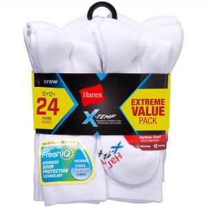 picture of Hanes Men's X-Temp Active Cool Crew Socks Value 24-Pack