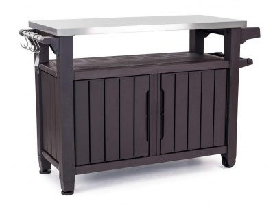 picture of Keter Unity XL Indoor Outdoor Entertainment BBQ Storage Table/Prep Station/Serving Cart with Metal Top Sale