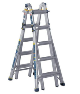 picture of Werner 22' Reach Aluminum 5-In-1 Multi-Position Pro Ladder w/ Powerlite Rails