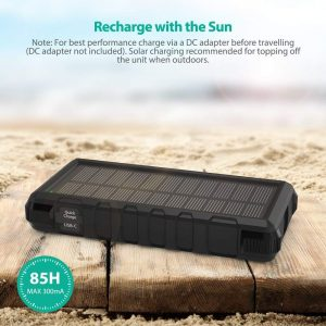 picture of RAVPower 25000mAh Solar Portable Charger with Micro USB & USB C Inputs, Quick Charge Solar Power Bank with 3 Outputs