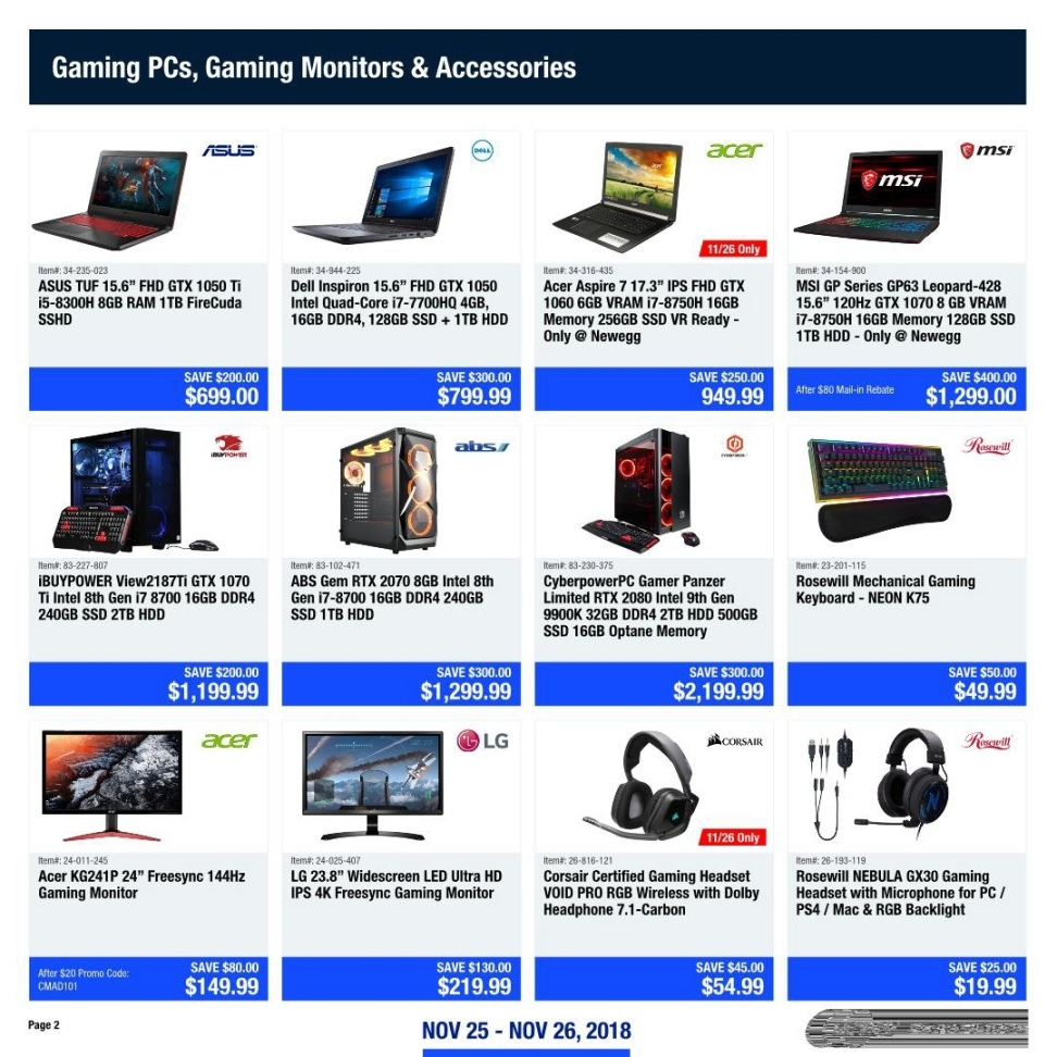 Newegg Cyber Monday 2018 Ad