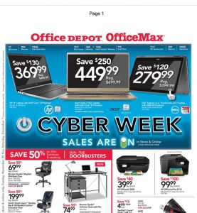 picture of Cyber Monday 2018: Office Depot OfficeMax Ad Scan