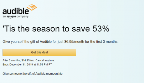 picture of Holiday Discount 53% off 3-Months at Audible Plus - Only $4.95/month