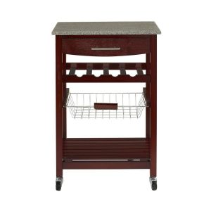 picture of Linon Granite Top Espresso Kitchen Cart Sale