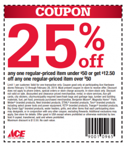 picture of Ace Hardware 25% off 1 Regularly Priced Item In Store