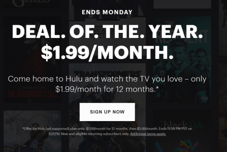 picture of Hulu Ad Supported $1.99/month