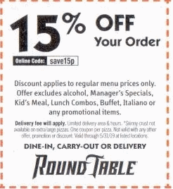 picture about Round Table Pizza Printable Coupons called Spherical Desk Pizza Discount codes and Financial savings