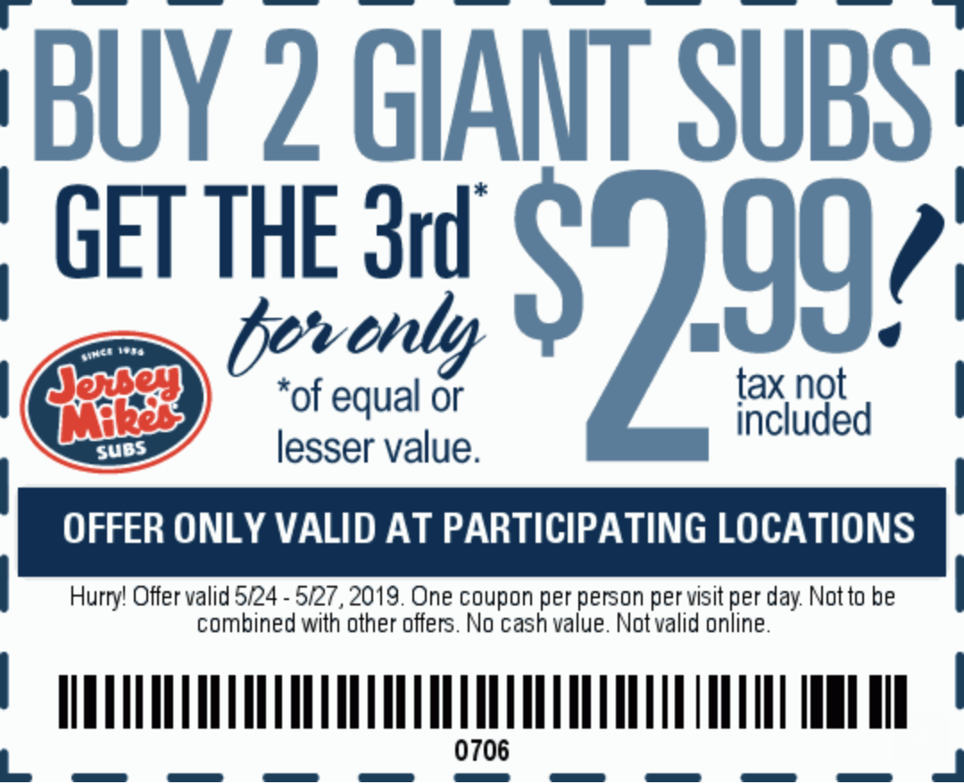 Jersey Mike's Subs Coupon