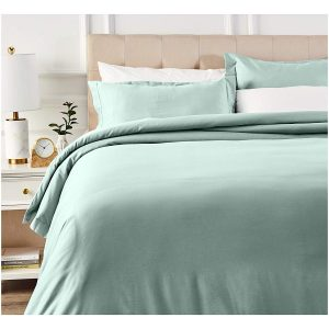 picture of AmazonBasics 400 Thread Count Cotton Duvet Cover Set with Sateen Finish - King Sale