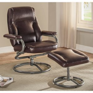 picture of Mainstays Plush Pillowed Recliner Swivel Chair and Ottoman Set Sale