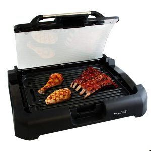 picture of MegaChef Dual Surface Reversible Indoor Grill and Griddle with Removable Glass Lid Sale