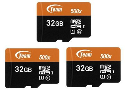 picture of 3 x Team 32GB microSDHC UHS-I/U1 Class 10 Memory Card with Adapter