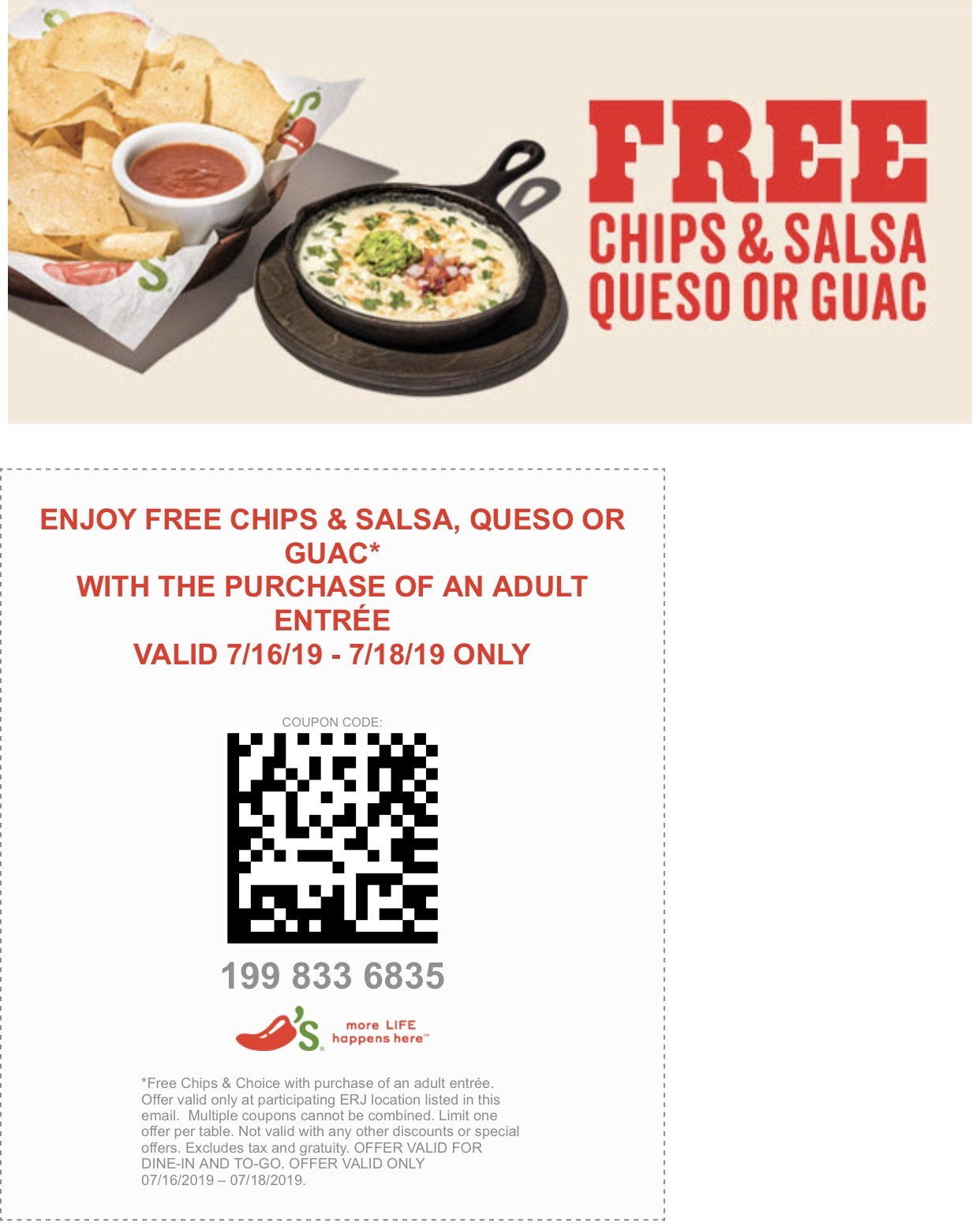 picture about Chilis Printable Coupon named Chilis Coupon codes and Cost savings