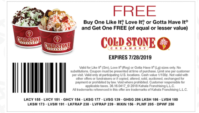 image regarding Cold Stone Printable Coupon identified as Chilly Stone Creamery Discount coupons and Price savings