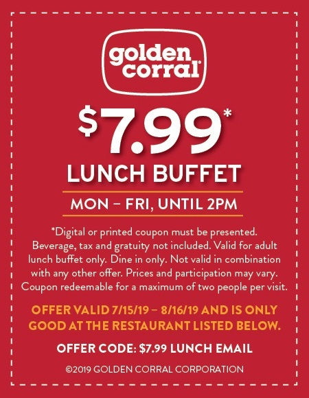 photograph relating to Coupon for Golden Corral Buffet Printable called Golden Corral Discount codes and Savings