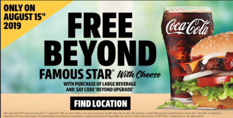 picture of Carl's Jr. and Hardee's Offer Free Beyond Meat Menu Items the Monday After Sunday's Big Game