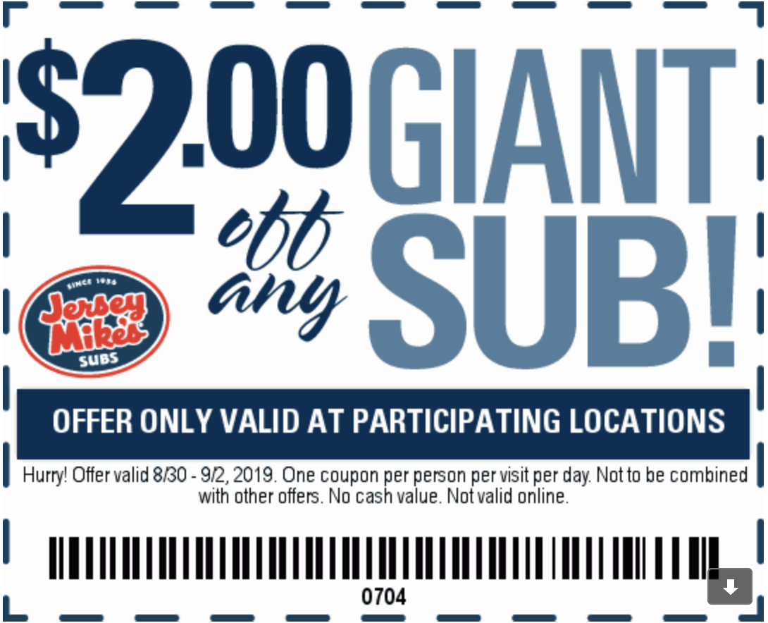 image about Jersey Mikes Printable Coupons named Jersey Mikes Subs Discount codes and Cost savings